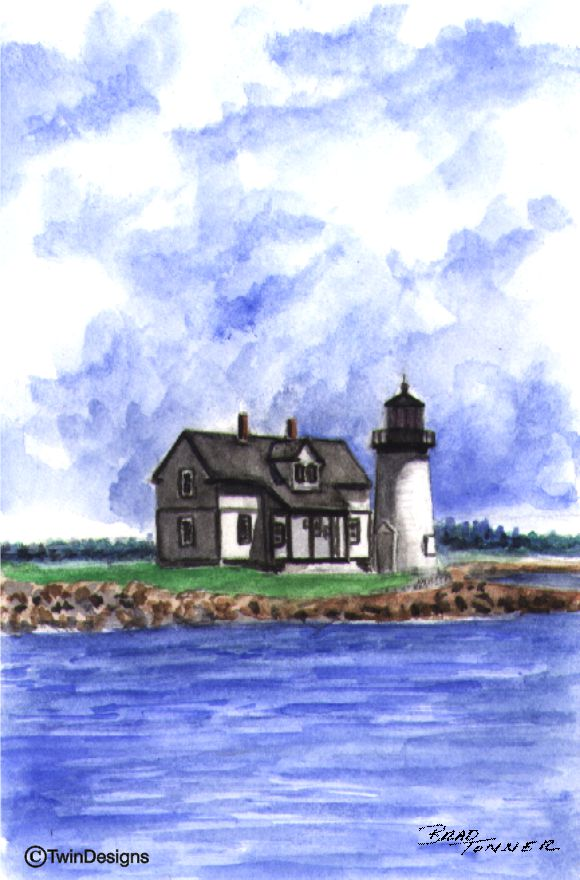"""Prospect Harbor Point Lighthouse Maine"" Boxed Note Cards Original Watercolor by Brad Tonner"