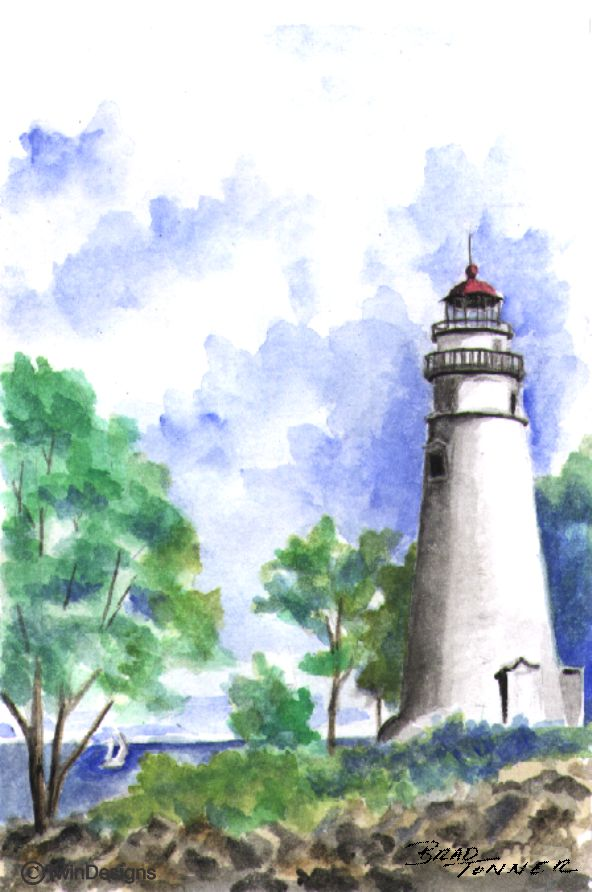 """Marblehead Lighthouse Ohio"" Boxed Note Cards Original Watercolor by Brad Tonner"