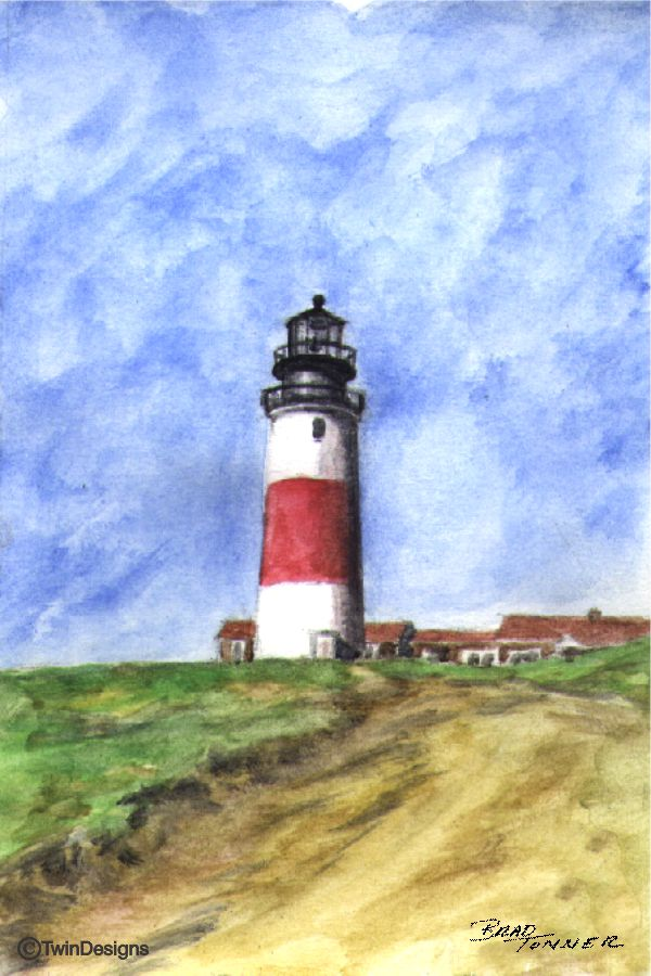 """Sankaty Lighthouse Nantucket"" Boxed Note Cards Original Watercolor by Brad Tonner"