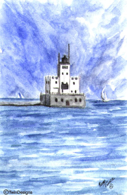"""Milwaukee Breakwater Lighthouse Wisconsin"" Boxed Note Cards Original Watercolor by Brad Tonner"