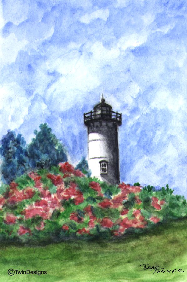 """East Chop Lighthouse Martha's Vineyard"" Boxed Note Cards Original Watercolor by Brad Tonner"