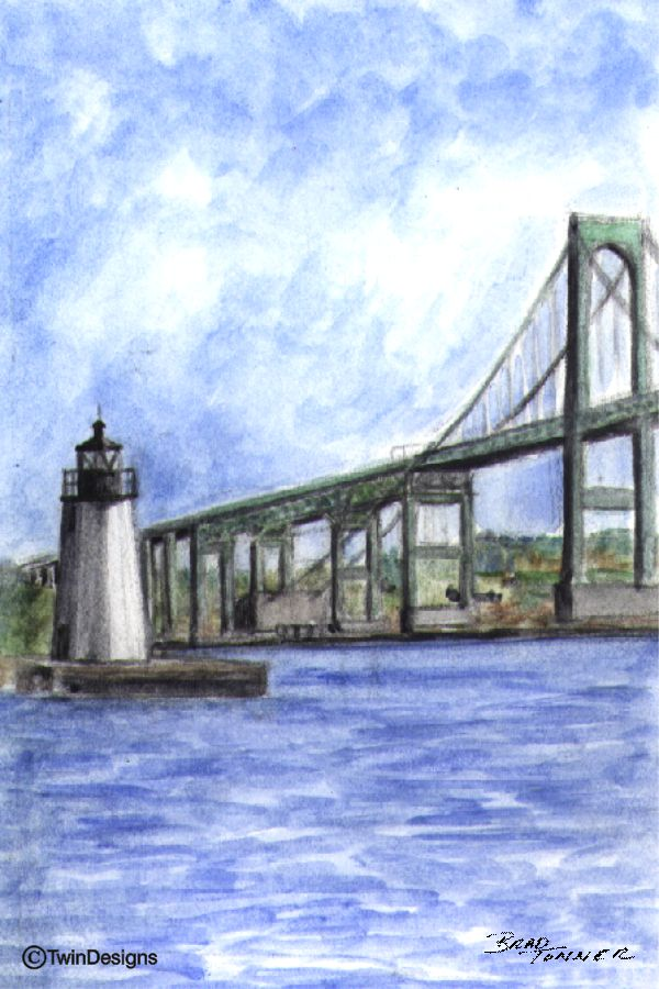 """Newport Harbor Lighthouse Rhode Island"" Boxed Note Cards Original Watercolor by Brad Tonner"