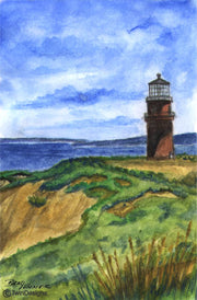 """Gay Head Lighthouse Martha's Vineyard"" Boxed Note Cards Original Watercolor by Brad Tonner"