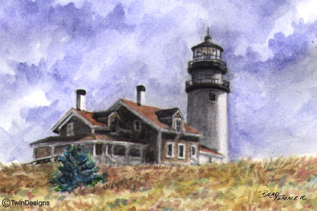 """Cape Cod Lighthouse"" Boxed Note Cards Original Watercolor by Brad Tonner"