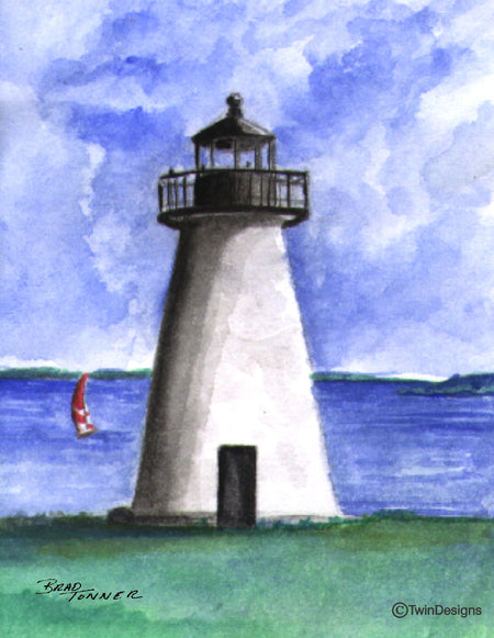 """Ned's Point Lighthouse"" Note Cards from on Original Watercolor by Brad Tonner"