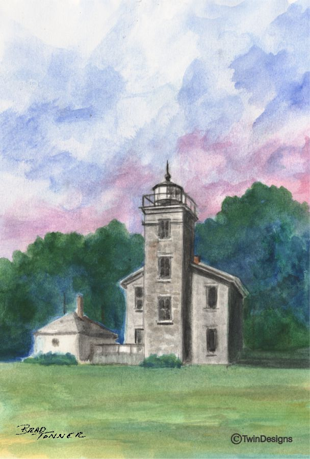 """Old Sodus Point Lighthouse New York"" Boxed Note Cards Original Watercolor by Brad Tonner"