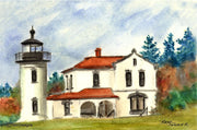 """Admiralty Head Lighthouse Washington"" Note Cards Original Watercolor by Brad Tonner"