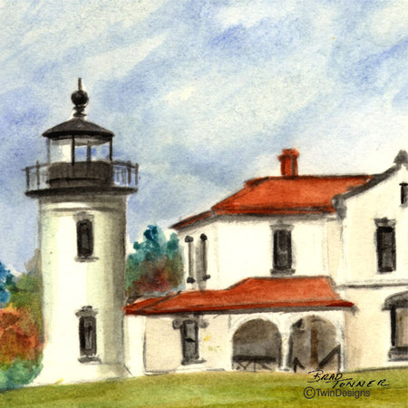 """Admiralty Head Lighthouse Washington"" Ceramic Trivet Original Watercolor by Brad Tonner"