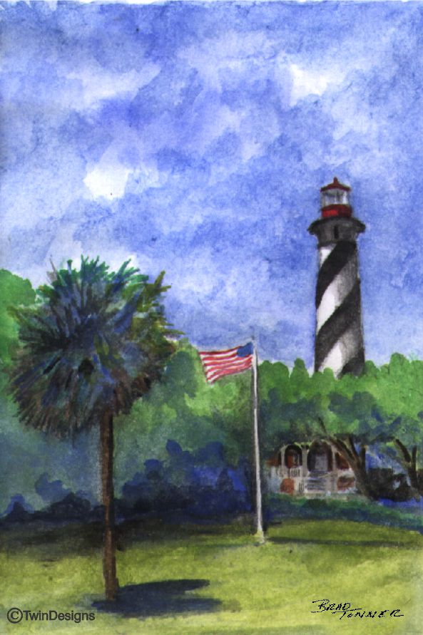 """St Augustine Lighthouse Florida"" Boxed Note Cards Original Watercolor by Brad Tonner"