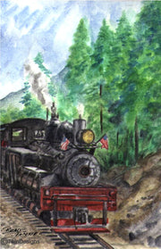 """Mountain Train"" Note Cards Original Watercolor by Brad Tonner"