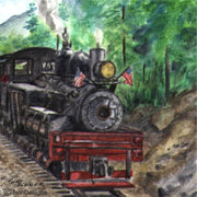 """Mountain Train"" Ceramic Trivet Original Watercolor by Brad Tonner"