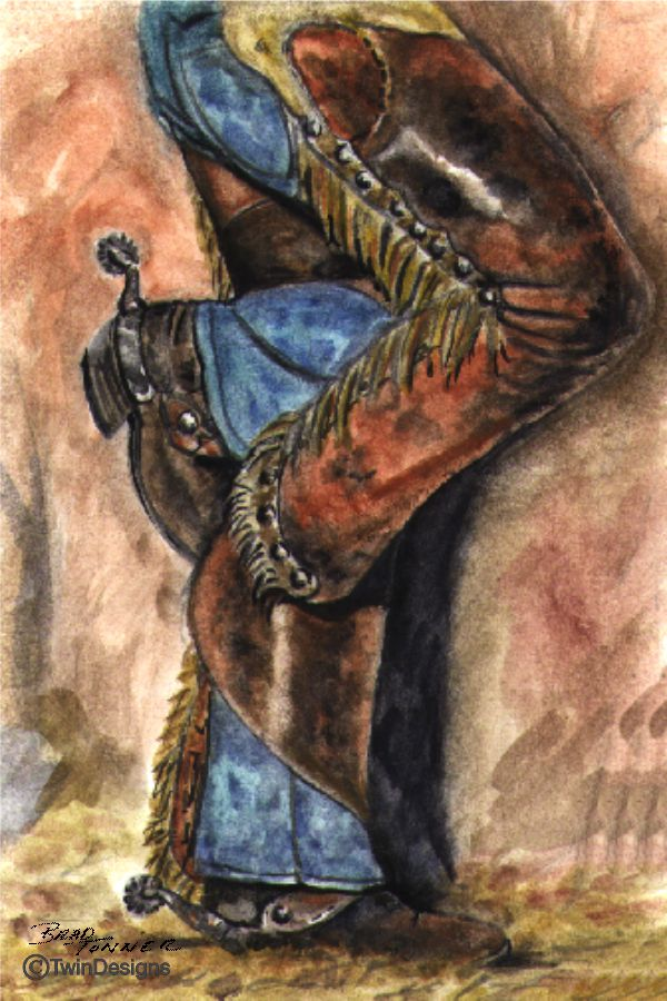 """Cowboy Chaps"" Note Cards Original Watercolor by Brad Tonner"