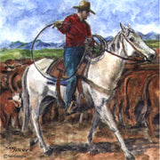 """Cowboy"" Ceramic Trivet Original Watercolor by Brad Tonner"