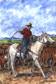 """Cowboy"" Note Cards Original Watercolor by Brad Tonner"
