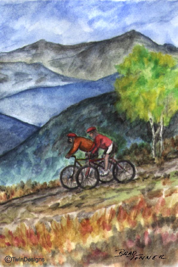 """Mountain Bikes"" Note Cards Original Watercolor by Brad Tonner"
