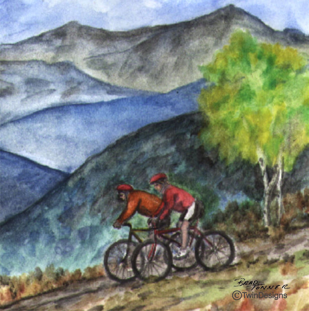 """Mountain Bikes"" Ceramic Trivet Original Watercolor by Brad Tonner"