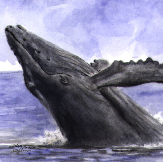 """Whale"" Ceramic Trivet Original Watercolor by Brad Tonner"