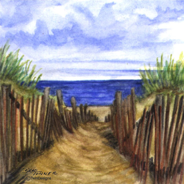 """Dune Path"" Ceramic Trivet Original Watercolor Brad Tonner"