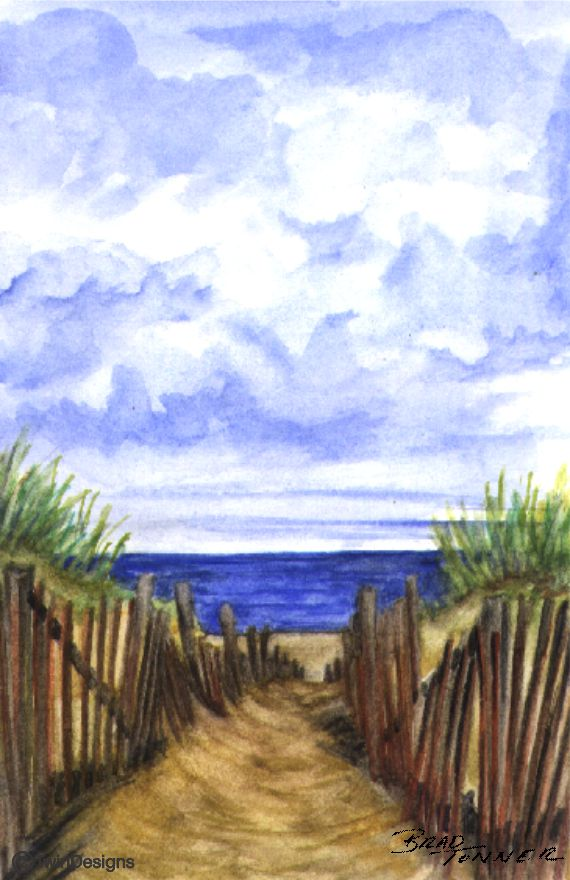 """Dune Path"" Note Cards Orignal Watercolor by Brad Tonner"