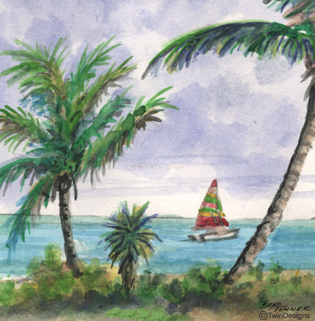 """Palm Tree Paradise"" Ceramic Trivet Original Watercolor by Brad Tonner"
