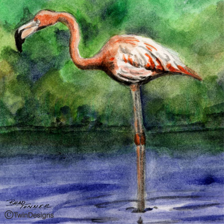 """Flamingo"" Ceramic Tile Trivet  Original Watercolor by Brad Tonner. 6"" x 6"" Cork Backing."