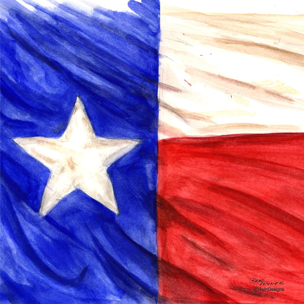"""Texas"" Ceramic Trivet Original Watercolor by Brad Tonner"