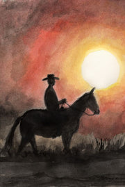 """Sunset Cowboy"" Note Cards Original Watercolor by Brad Tonner"
