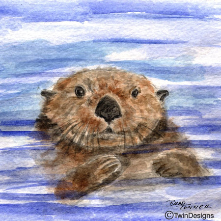 """Otter"" Ceramic Trivet Original Watercolor by Brad Tonner"