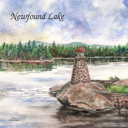 """Newfound Lake Lighthouse"" Ceramic Tile Trivet  Original Watercolor by Brad Tonner. 6"" x 6"" Cork Backing."