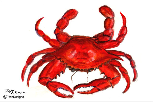"""Crab"" Note Cards Original Watercolor by Brad Tonner"