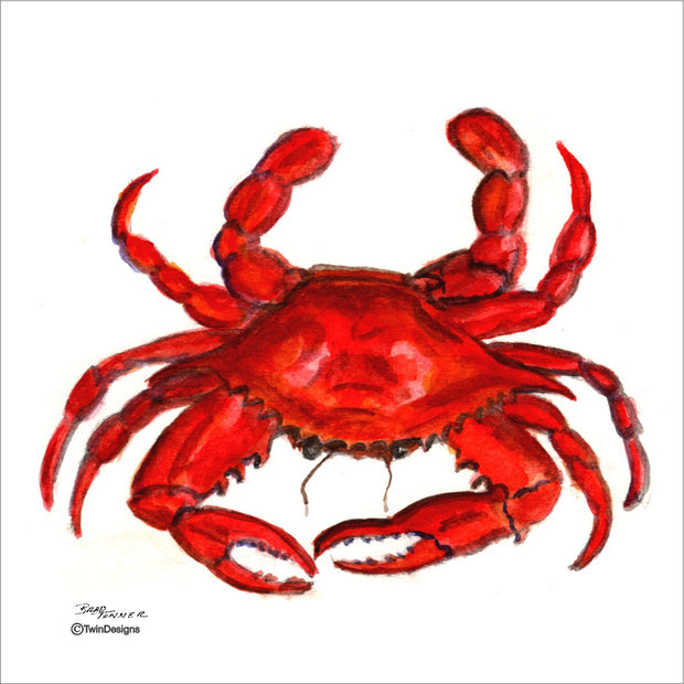 """Crab"" Ceramic Trivet Original Watercolor by Brad Tonner"
