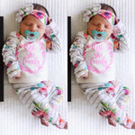 3Pcs Winter Baby Girl's Lettrer Flower Top+ Pants+ HeadBand Outfit Set