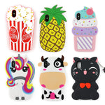 Case for iPhone X 3D Cartoon Cute Ice Cream Unicorn Cat Kitty Shaped Soft Rubber Silicone Case Cover for iPhone X