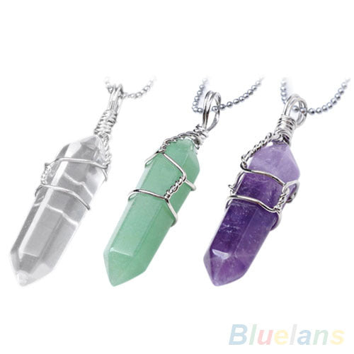 Bluelans Women Female Chic Natural Crystal Quartz Healing Point Chakra Bead Stone Pendant For Necklace