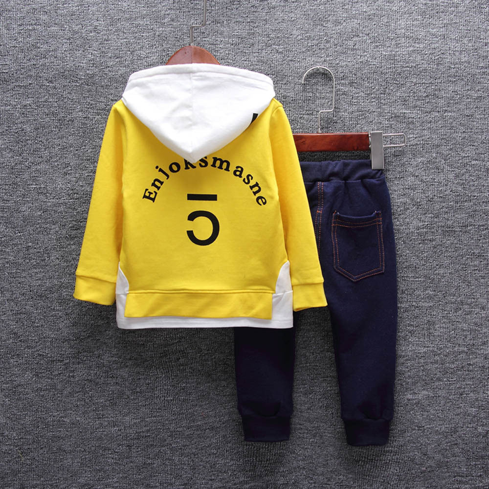 Autumn Winter Cotton Kid'S/Baby Fashion Hooded Printing Letter T-Shirt Tops+ Jeans As A Set - Fashioncrazestore.us