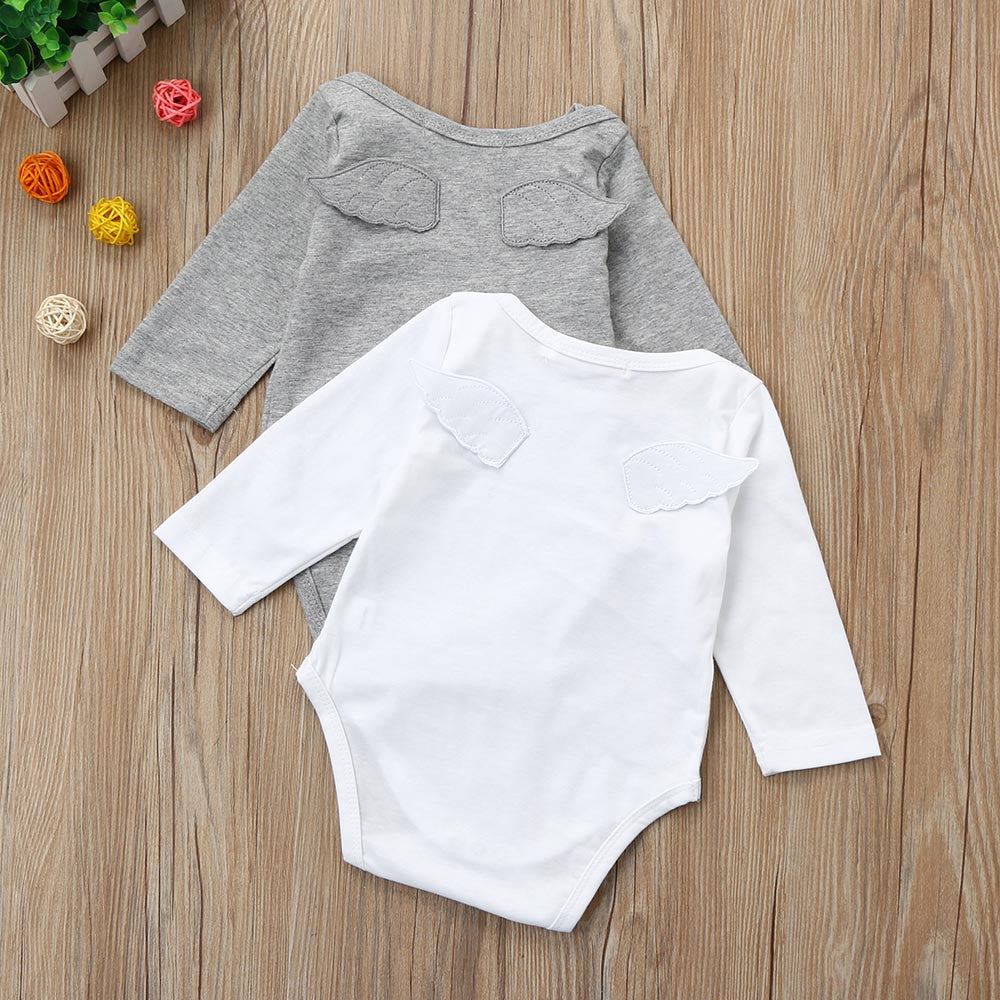 2018 Newborn Baby/ Toddler Unisex Angel Wing  Long Sleeve Cotton Romper's