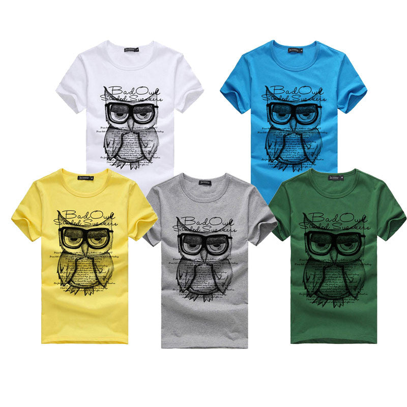 2018 New Men Owl Printed Cotton Short Sleeve T-Shirt's