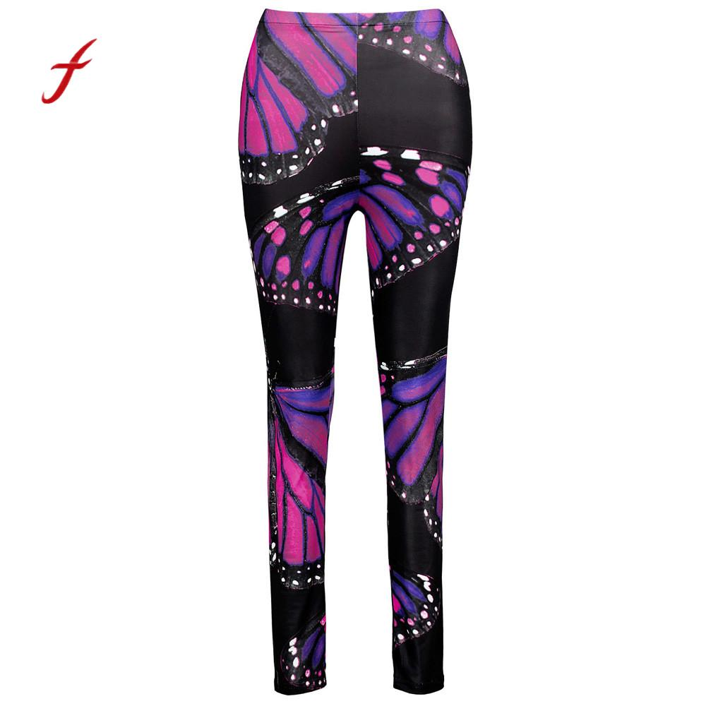 2018 New!!  Women Fashion Butterfly Printed High Waist fitness leggins