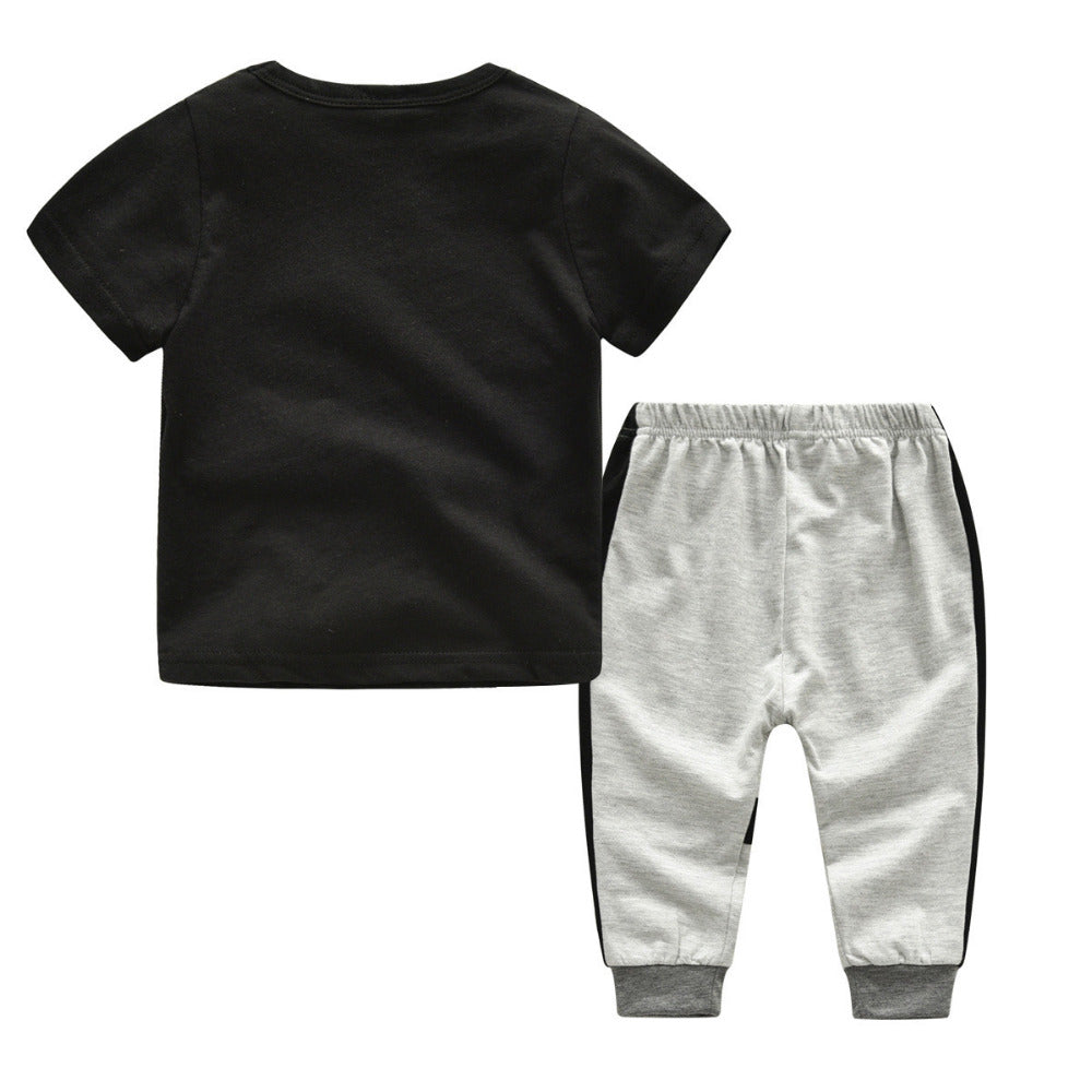 2018 Kid Boy's Cotton 2pc Tracksuit includes Ptinted T-Shirt and Pants