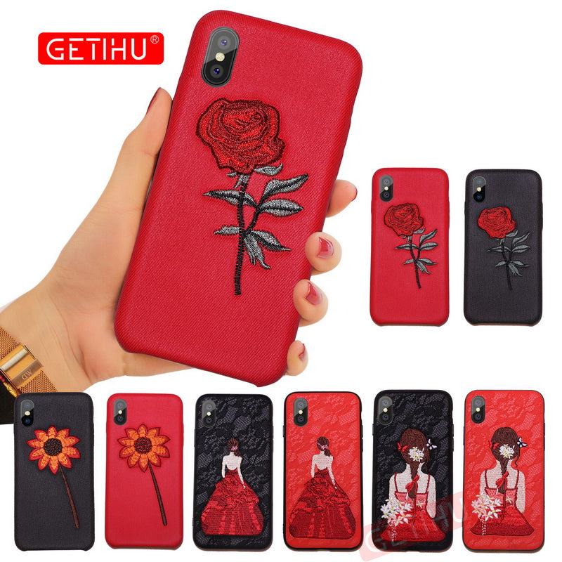 Embroidery Helianthus Phone Case For iPhone 6 6S 7 8 Plus Cover Coque Luxury Case For iPhone X 10 7 6 8 Plus Cases Capa