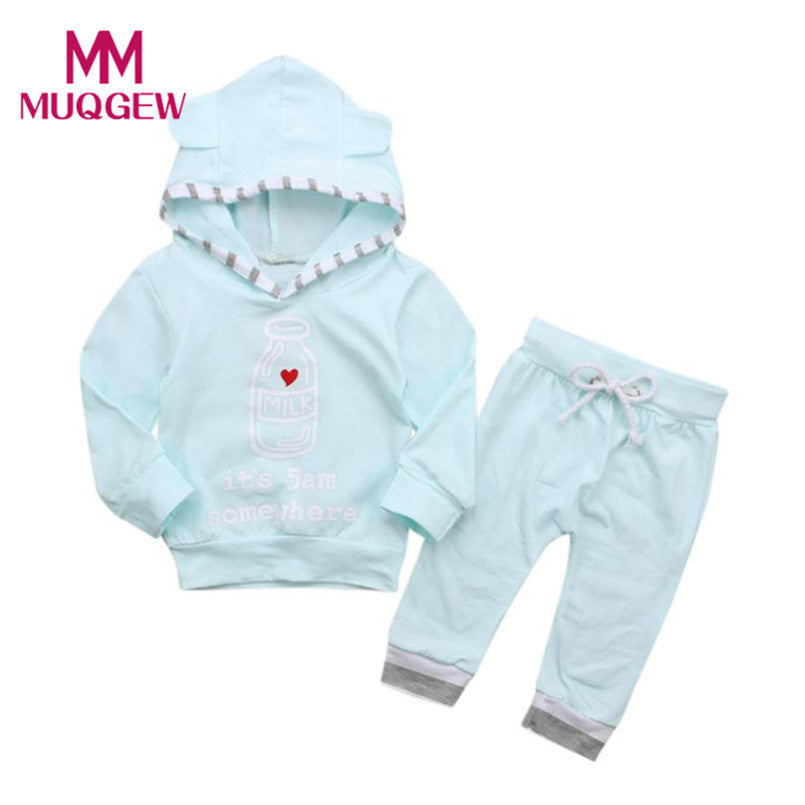 2Pcs Fashion Bab Boy's Soft Cotton Letter Pattern Hooded Sweatshirt and Pant's as a Set
