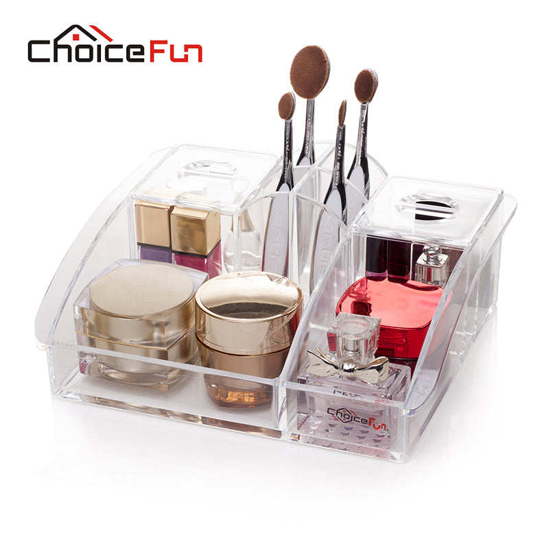 CHOICE FUN Home Bath Desk Waterproof Beauty OrganizerPlastic Clear Table Desktop Acrylic Make Up Cosmetic Makeup Organiser