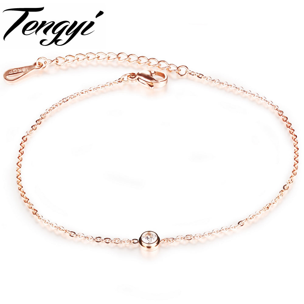 2018 Newest Rose Gold Color Anklets Fashion Women Crystal Foot Chain Bracelet