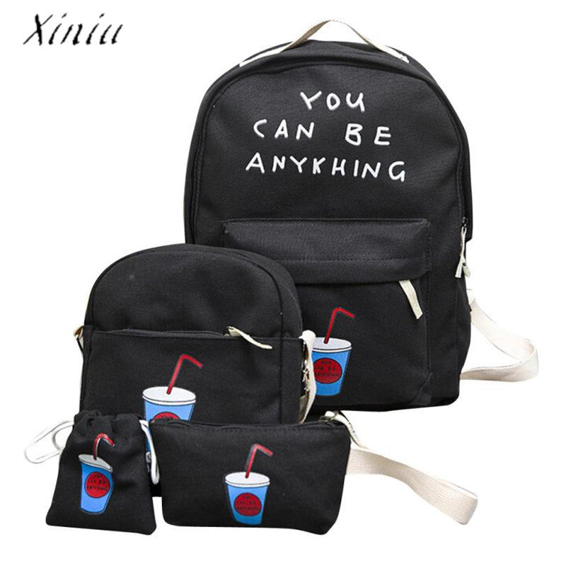 1Set 4pcs Printed Backpack  Canvas School Bags