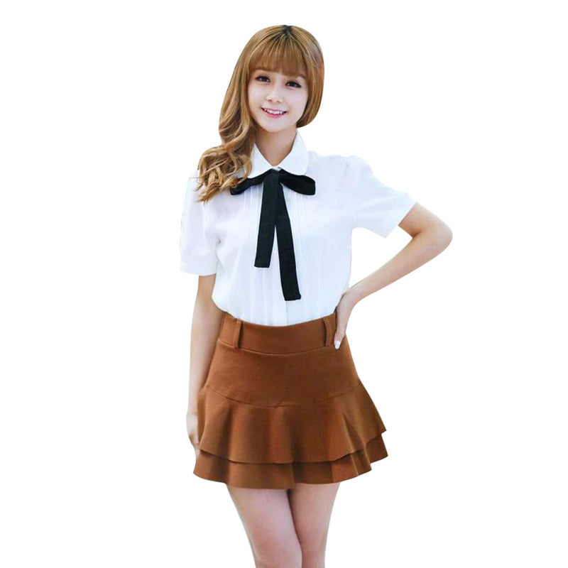 New Women School Bow White Blouses w/ Turn-down Collar