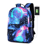 Galaxy School Bag Noctilucent Backpack Collection Canvas USB Charger Anti-Theft