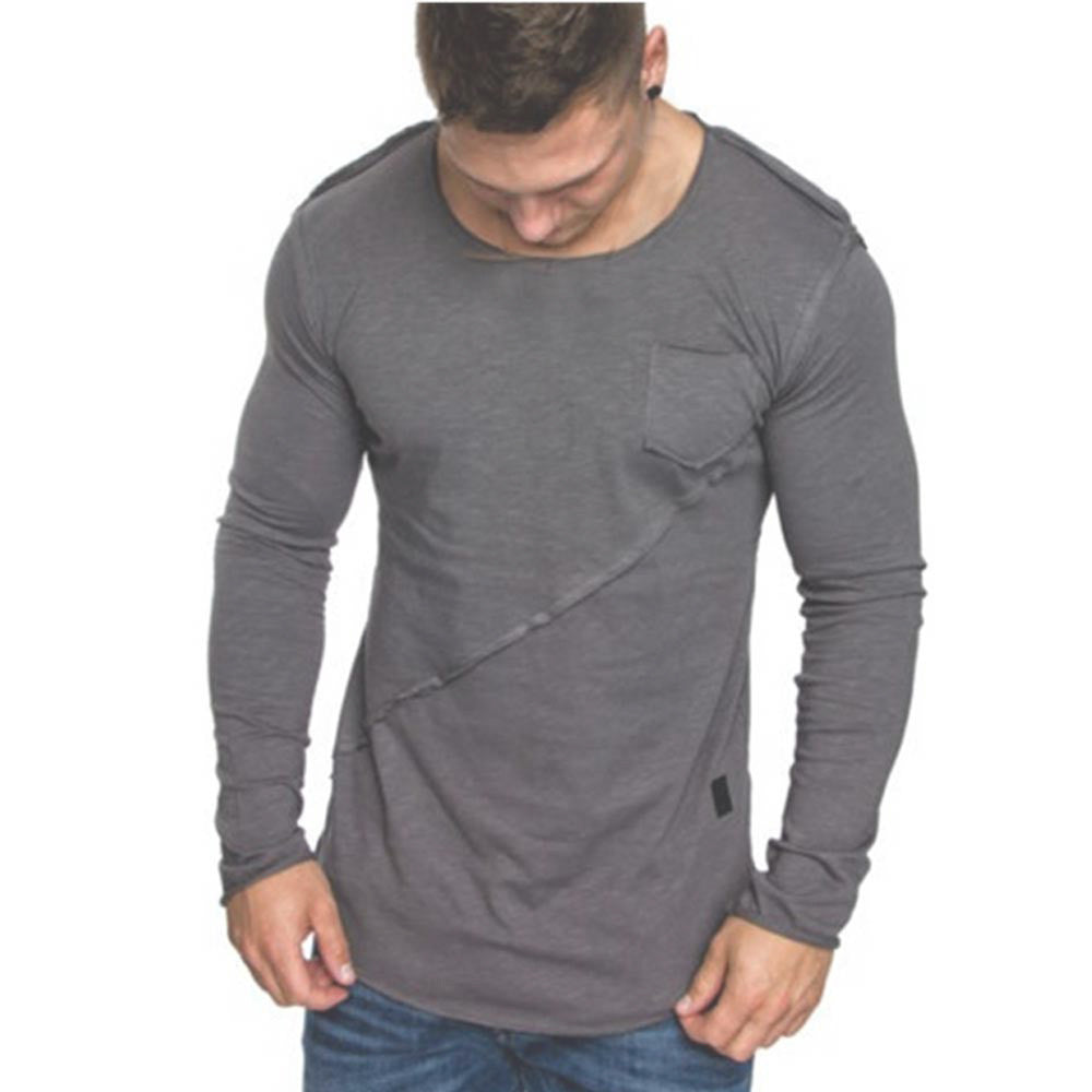 2018 New Men Long-Sleeve Beefy Muscle Button Basic Solid Pure ColorTee Shirt