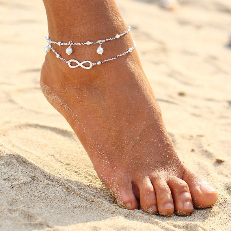 5 Pieces Vintage Boho Silver Color Anklet w/ Bow Beads Pearl Bohemian Ankle Bracelet
