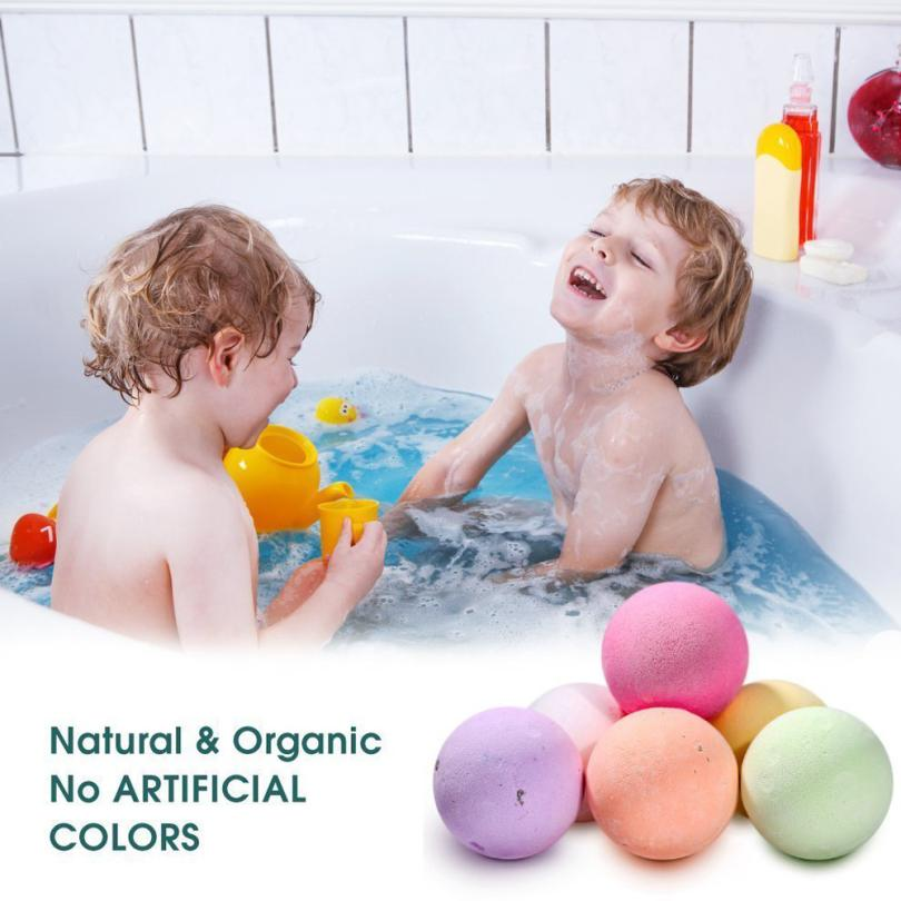 Kid's Round Pattern Bath ball  60g Bath Ball Natural Salt Flower Bubble Bath Bombs Skin Exfoliating Whitening ( Safe for Kid's )