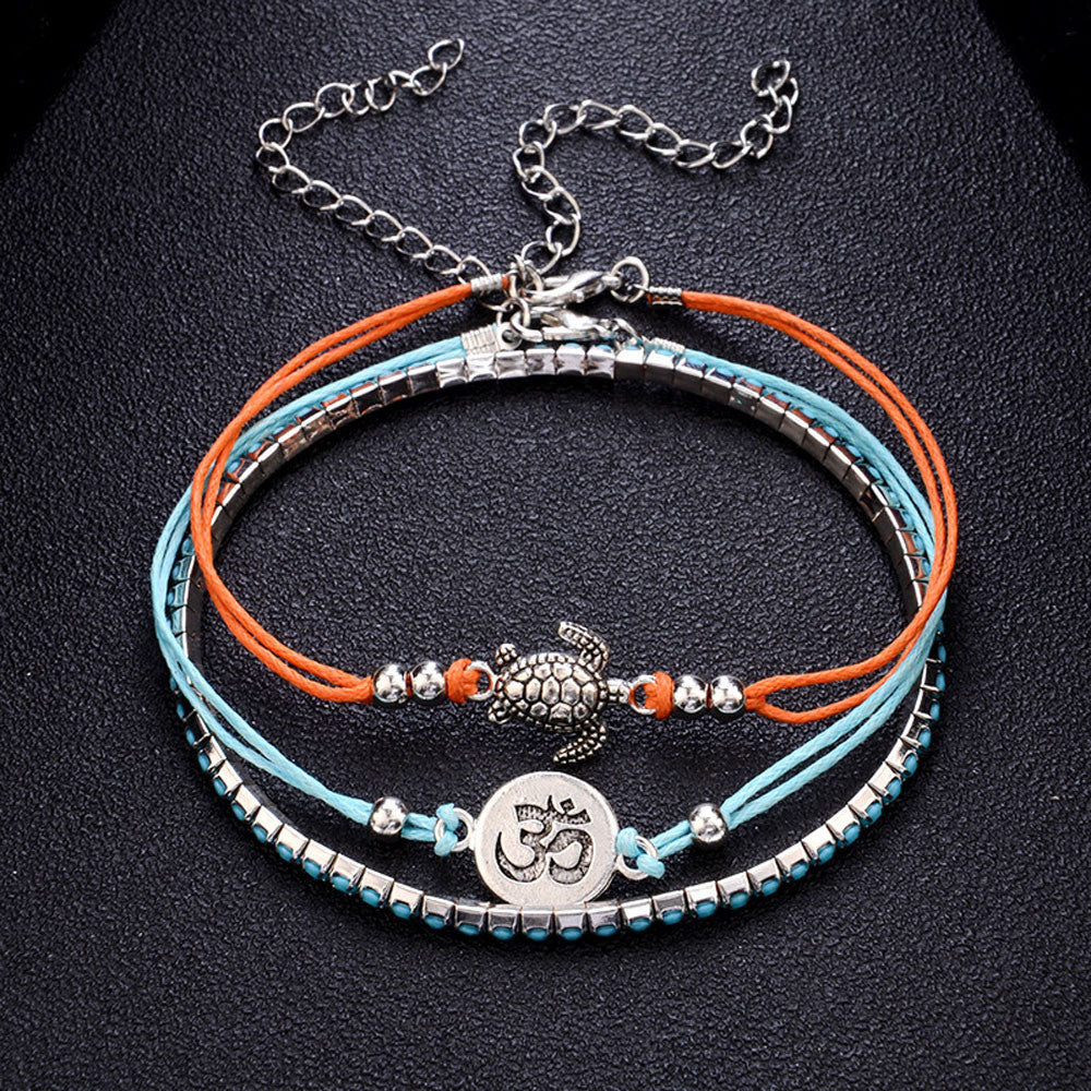 1PC Bohemia Tortoise Anklets Bracelets for Women Rope Beach Anklet Jewelry 2018 New Arrival Fashion Jewerly